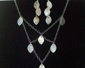 Shell bead necklace and earrings, sterling silver jewelry