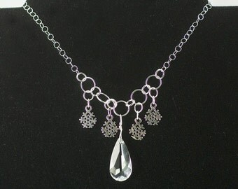 Snowflake necklace, crystal bead, sterling silver