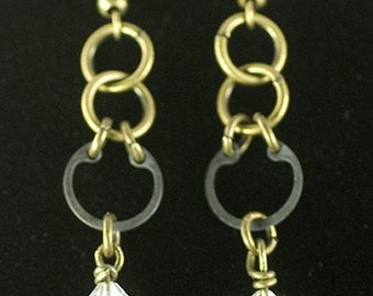 Hardware earrings, crystal beads
