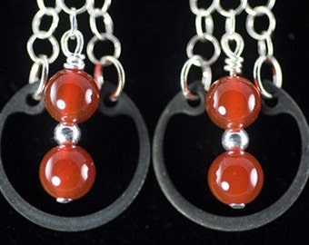 Carnelian earrings, hardware jewelry, sterling silver