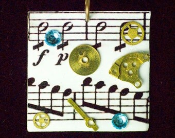 Steampunk necklace, sheet music and watch parts necklace