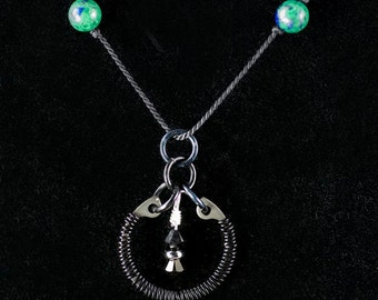 Azurite-Malachite Beaded Necklace with Black Wire Wrapped Pendant