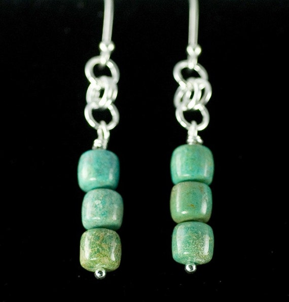 Turquoise bead earrings, sterling silver