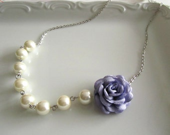 Lilac flower necklace with pearls - Pearl necklace - Bridal necklace - Bridesmaid necklace
