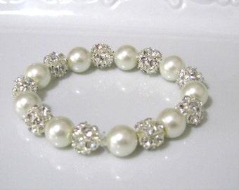 Ivory pearl bracelet with crystal hinestone balls,  bridal bracelet, bridesmaids bracelet, wedding jewelry