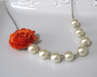 Pearl necklace with pumkin orange rose, pearl necklace, ivory pearl necklace , pumkin bridal, bridesmaids jewelry