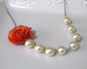 Pumkin orange flower necklace with pearls - Pearl necklace - Bridal necklace - Bridesmaid necklace