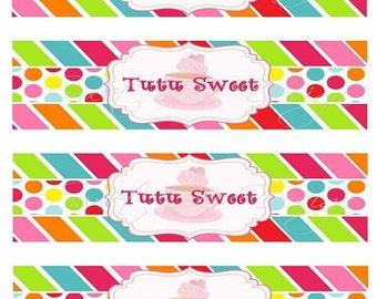 Tutu Sweet Tea Party Water Labels- Printable