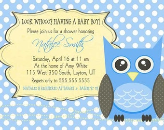 Owl Baby Shower Invitation- Baby Boy - Polka Dot Owls - Custom Printable