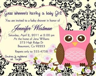 Owl Shower Invitation, Owl Baby Shower Invitation, Owl Bridal Shower Invitation, Owl Invitation, Owl Birthday Invitation - Custom Printable