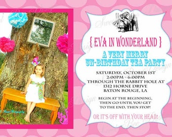 Alice In Wonderland Birthday Invitation - Custom Printable