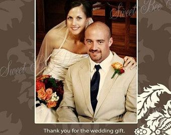 Damask Photo Thank you Note or  Save the Date Printable Wedding Card