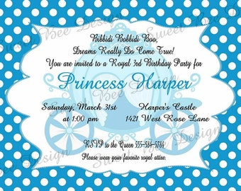 Cinderella Princess Birthday Invitation , Princess Birthday Invitation, Cinderalla Birthday Invitation