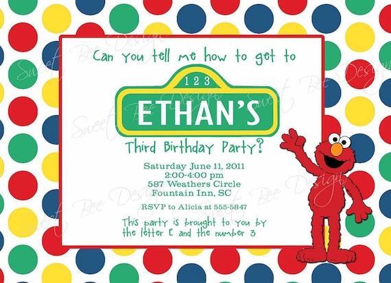 Sesame Street  Birthday Invitation- Custom Printable