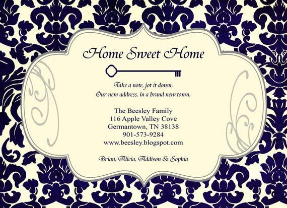 Moving Announcement - Home Sweet Home - Custom Printable