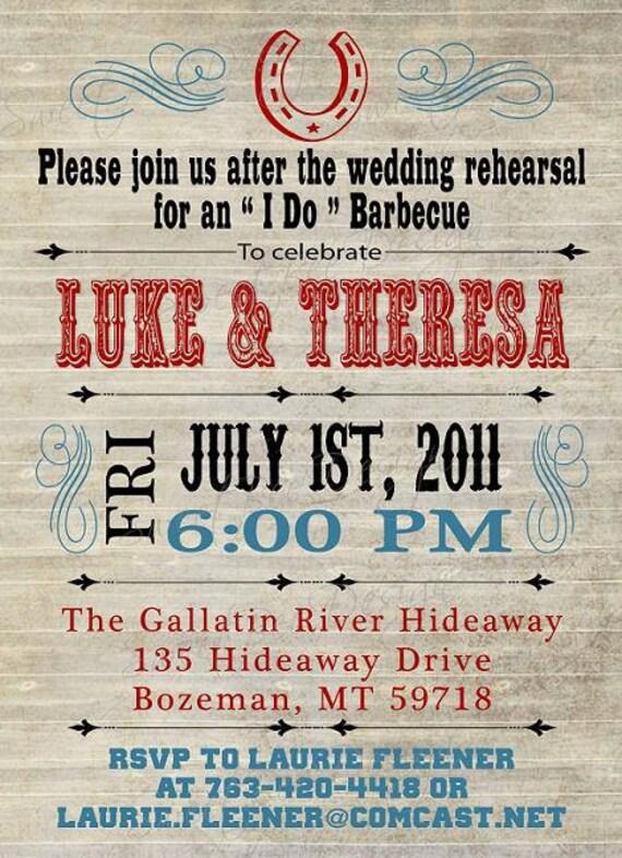 Vintage Western Invitation, Rehearsal Dinner Invitation, I do BBQ Invitation, Wedding Dinner Invitation