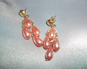 Vintage 70s style sophisticated pearly teardrop Earrings peach Retro Fancy Dress