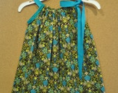 Turquoise and Green Floral Boutique Pillowcase Dress 3T