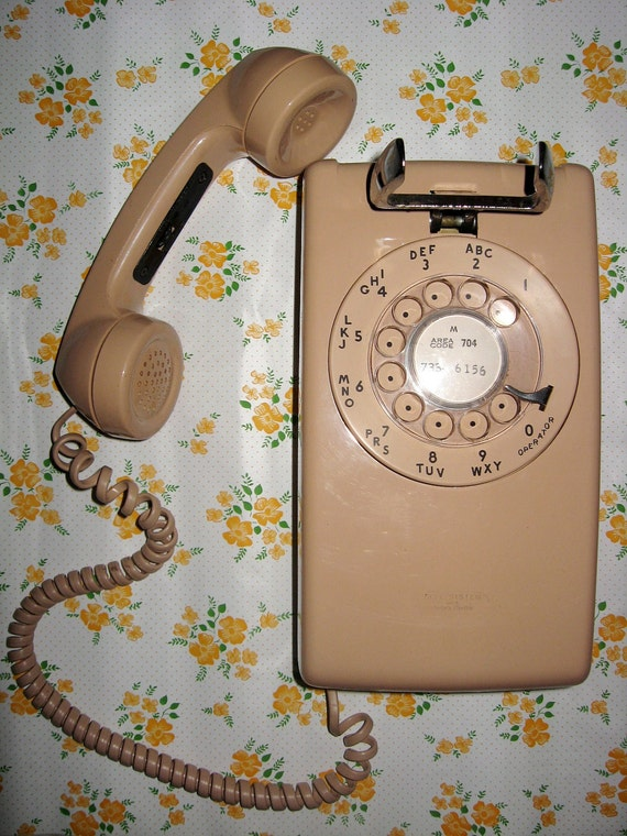 Pink Rotary Dial Wall Phone Model 554