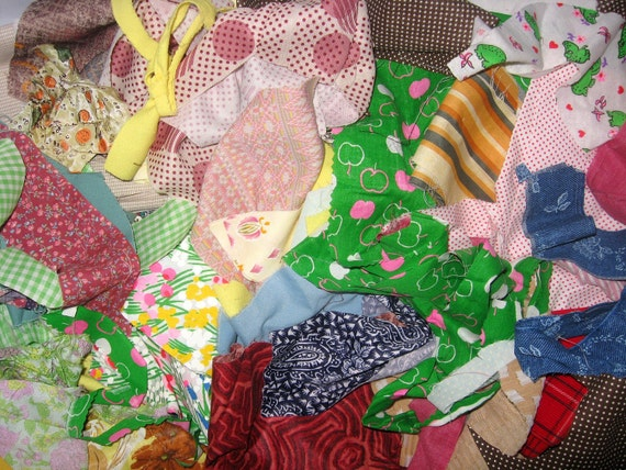 HUGE Lot of Brightly Colored Vintage Fabric Scraps.