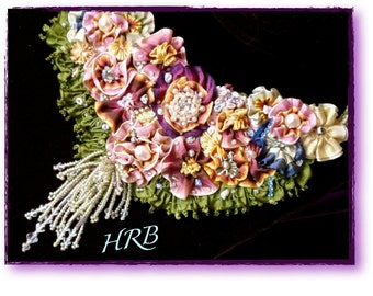 RIBBONWORK 1920's Bib Statement Necklace Vintage French Ribbon Rhinestones Pearls and Seed Beads
