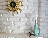 Petite Mid Century Aqua and Gold Table Lamp