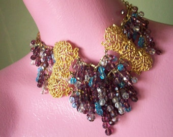 Purple crystal and Gold metal