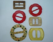 Vintage Belt Buckles 1950's, 6 Slightly Damaged Buckles, Belt, Sash, Round, Rectangle, Red, great for Re-purposing/Spray Painting