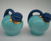 Vintage Salt Shakers, 1954 Turquoise Water Pitchers, Mid Century Salt Pepper Shakers Aqua Blue,  Navy Blue,Gold, Signed August 9, 1954