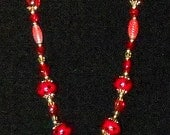 Spotted Candy Apple Red and Gold 18 inch Beaded Necklace