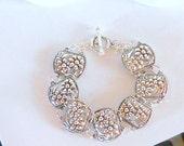 Silver  Paneled  Floral Designed Pattern Bracelet Fits larger sized Wrists