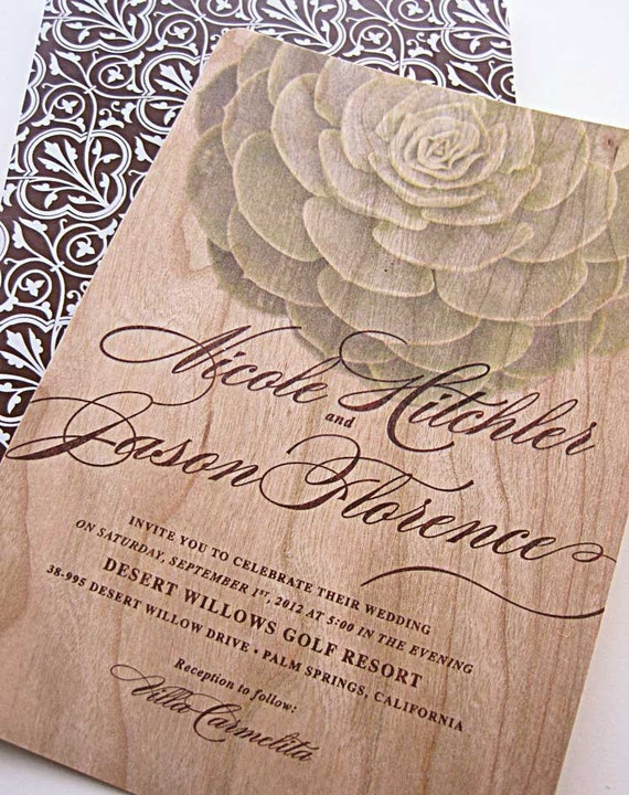 Real Wood Wedding Invitations Modern Succulent Invitation - SAMPLE SET