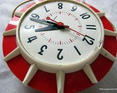 Vintage GE Wall Clock - Red and White Sunburst