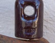 Vintage Glossy Brown Insulator 1933
