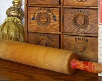 Vintage Rolling Pin Red Handle Maple Rolling Pin Retro Kitchen Pies Baking 1960s Mid Century Modern