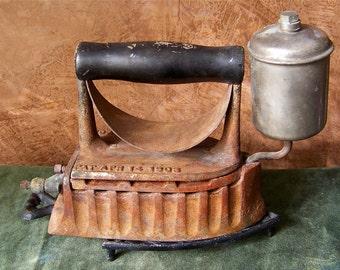 Antique Gas Iron The Monitor 1903 White Gas Powered Clothes Iron Rusty Iron Steam Iron Grandmas Iron Laundry Room Decor