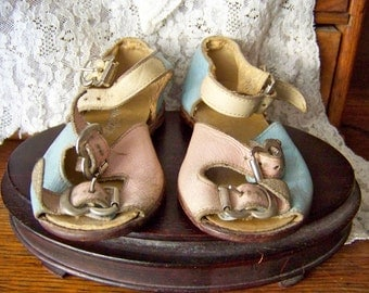 Vintage Baby Shoes Pink Blue and Yellow Leather Sandals Little Kicker Shoes 1950s Baby Shower Photo Prop