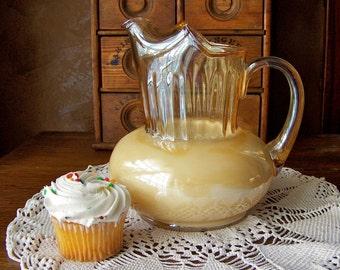 Vintage Glass Pitcher Iridescent Amber Classic Pitcher Grandmas Kitchen Shabby Cottage Decor 1950s