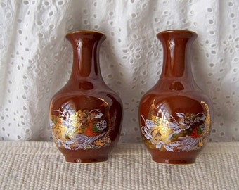 Vintage Peacock Vases Chocolate Brown Miniature Vases Bud Vases Pair of Small Vases Vintage 1960s