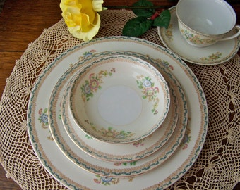 Vintage China Place Setting for Four Shabby Cottage Tan and Blue Dinnerware China Place Setting National China Vintage 1960s