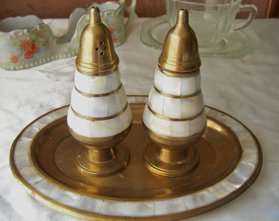 Brass Mother of Pearl Salt and Pepper Shaker Set with Tray