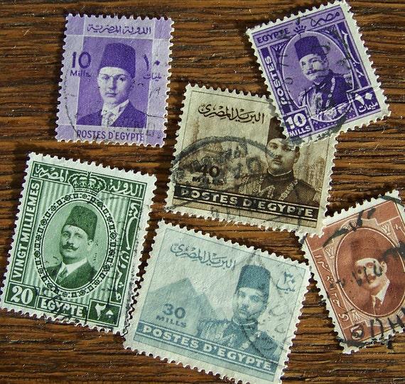 Vintage Postage Stamps Egypt 1940s