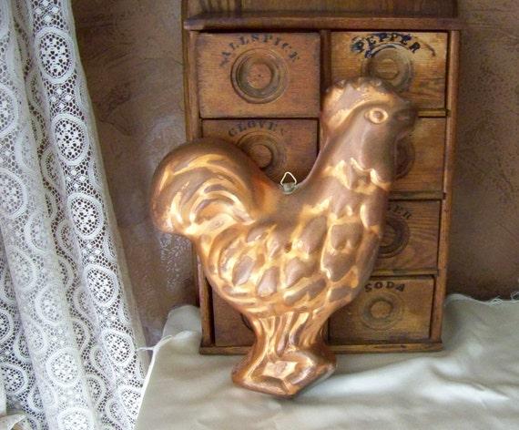 Vintage Copper Kitchen Mold Rooster