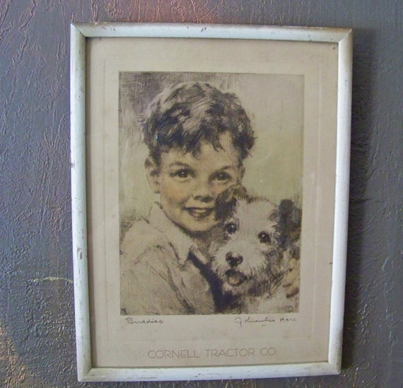 Boy And His Dogs By J Knowles Hare Reserved