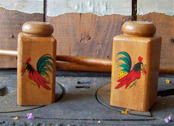 Vintage Rooster Salt and Pepper Shakers BBQ Grilling 1950s Wood Long Handle BBQ Shakers Backyard Grilling