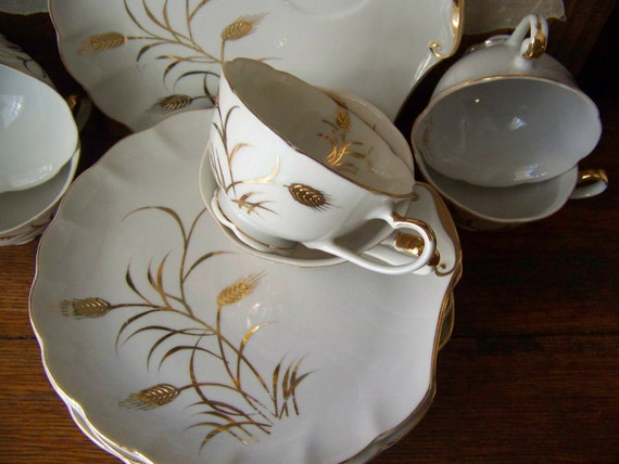 Vintage Lefton China Luncheon Plates and Cups RESERVED for Mariclair