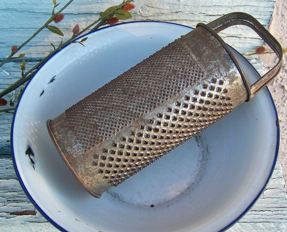 Primitive Rusty Round Tin Cheese Grater