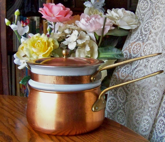 Copper and Ceramic Double Boiler