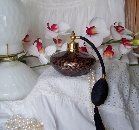 Vintage Perfume Atomizer Aventurine Blown Glass