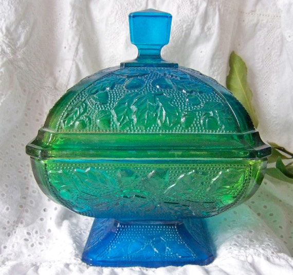 Carnival Glass Aquamarine Serving Dish RESERVED